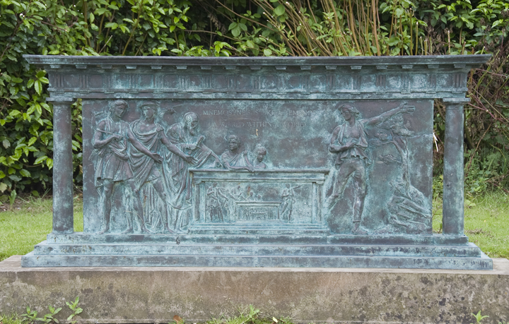 Monument in bronze relief to Alexander Wilson at Seedhill, Paisley