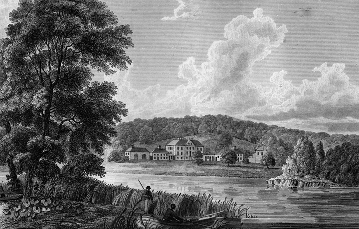 "Engraving of Castle Semple, 1825"" width="